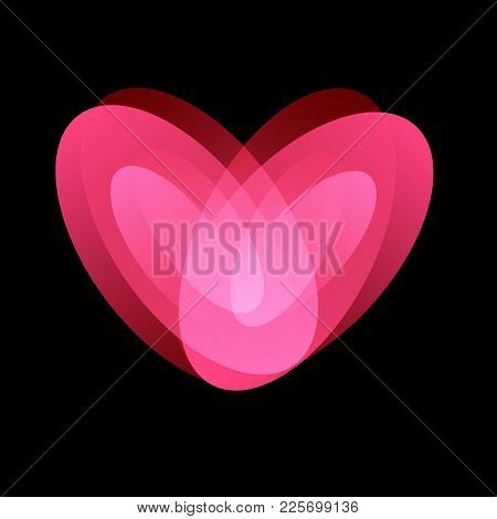 Trembling Love, Tender Feelings, Love And Passion Symbol, Isolated Abstract Unusual Vector Logo On B