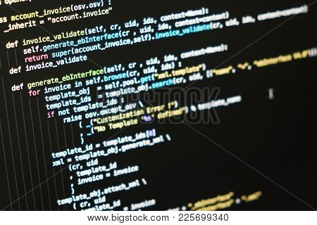 Information Technology Concept. Coding Script Text On Screen. Programming Code Abstract Screen