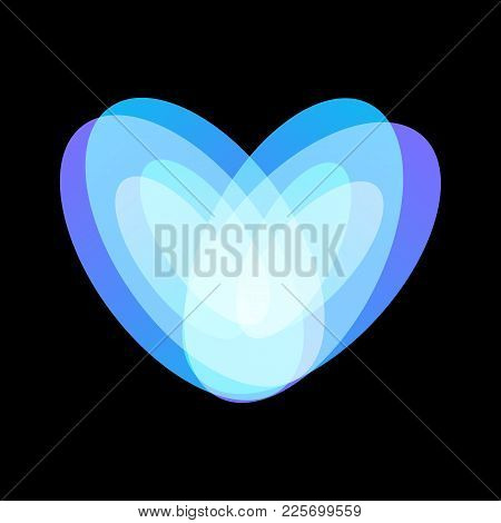 Blue Abstract Heart Symbol On Black Background, Unusual Isolated Vector Logo. Unconventional Love Ic