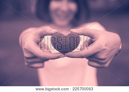 Teen With Love Hearts Beautiful Happy Loving Of Valentine's Day Vintage Color Tone