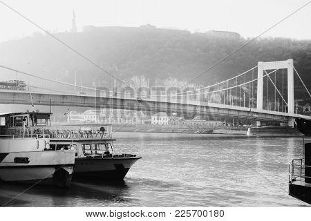 Cityscape of Buda from Pest across Danube River, Budapest, Hungary, Europe