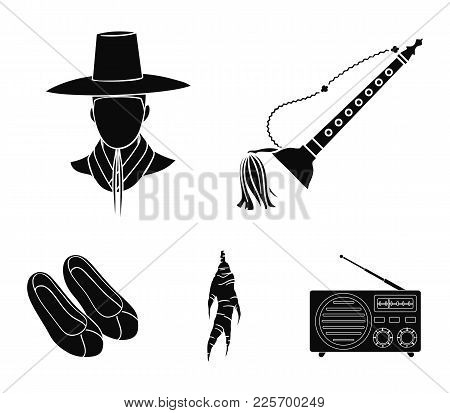 Trumpet Is A National Musical Instrument, A Korean In A Headdress, A Healing Root, Korean Shoes. Sou