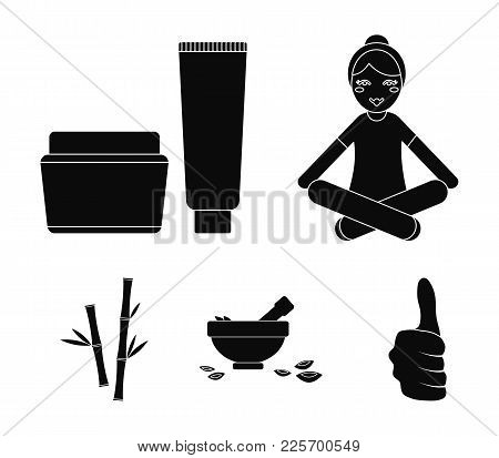 A Girl In A Yoga Lotus Pose, A Jar Of Cream And A Tube Of Ointment, A Crush With A Bowl And Rose Pet