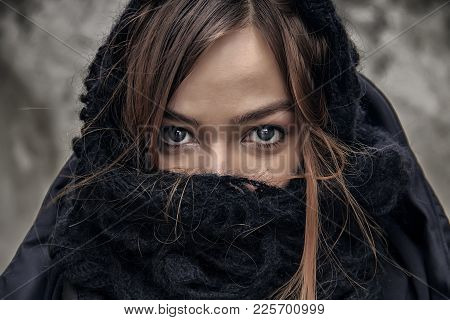 Very Close Up Woman Face Portrait. Beautiful Young Woman Looking At The Camera And Smiling Outdoors