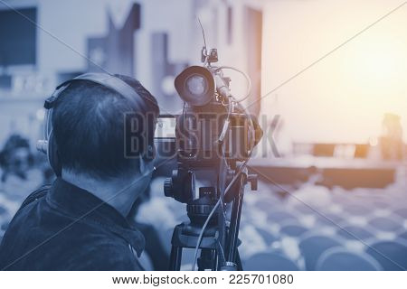 Cameraman Video Production Professional And Hd 4k Broadcast Recording On Duty.