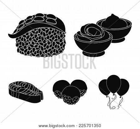 Wasabi Sauce And Ginger, Salmon Steak, Octopus. Sushi Set Collection Icons In Black Style Vector Sym