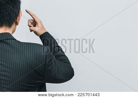 Asian Business Man Finger At Head For Use His Brain To Thinks Clever Intelligent