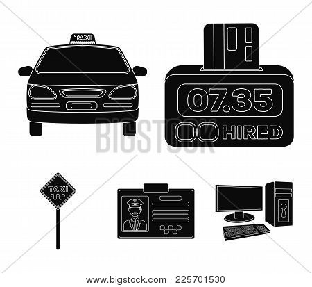 The Counter Of The Fare In The Taxi, The Taxi Car, The Driver's Badge, The Parking Lot Of The Car. T