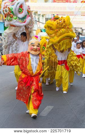 Happy Chinese New Year Joker People With Chinese Dragon Dance Asian Arts Festival In China Town In B