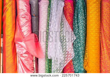 Thai Indian Colorful Fabric Textile Floral Pattern Roll Cloth Industry For Sale.