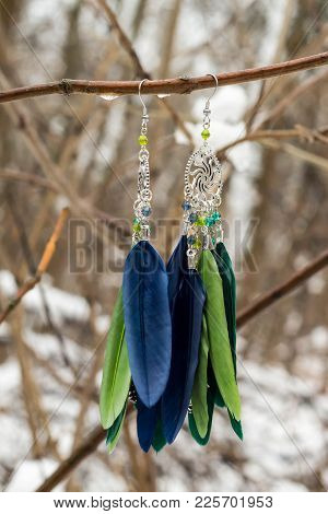 Earrings Of Dream Catcher With Feathers Threads And Beads Rope Hanging. Dreamcatcher Handmade