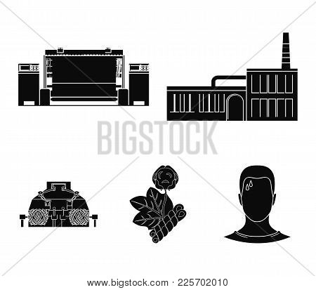 Factory, Enterprise, Buildings And Other  Icon In Black Style. Textile, Industry, Fabric Icons In Se