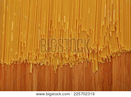 Close Up Background Pattern Of Dry Uncooked Spaghetti Pasta On Wooden Board, Elevated Top View, Dire