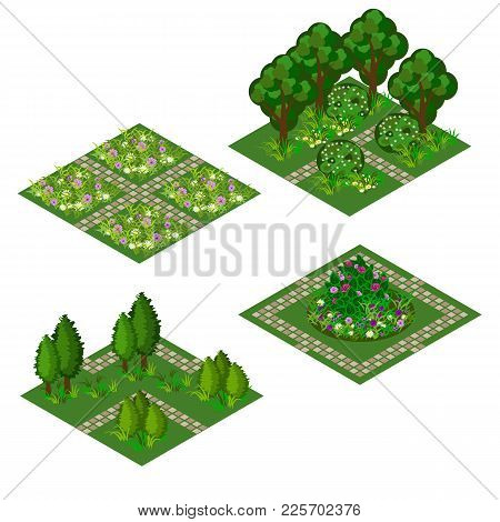 Garden isometric tile set. Asset for design garden landscape scenes with trees, bushes, flowers, grass and walks. Use as cartoon or game isometric asset. Vector illustration, isolated tiles poster