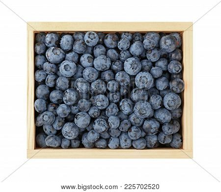 Close Up Wooden Crate Box Of Fresh Blueberry Berries, Elevated Top View, Directly Above