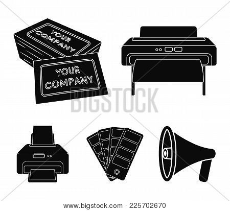 Printer, Credit Card, Color Palette.typography Set Collection Icons In Black Style Vector Symbol Sto