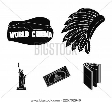 Mohavk, World Cinema, Dollar, A Statue Of Liberty.usa Country Set Collection Icons In Black Style Ve
