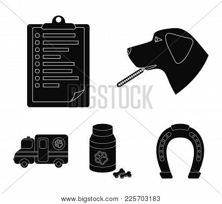 Hospital, Veterinarian, Dog, Thermometer .vet Clinic Set Collection Icons In Black Style Vector Symb