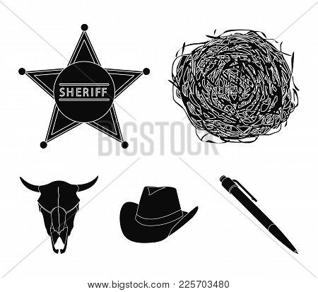 Tumbleweed, Sheriff's Star, Hat, Bull's Skull. West West Set Collection Icons In Black Style Vector