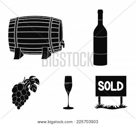 A Bottle Of Red Wine, A Wine Barrel, A Glass Of Champagne, A Bunch. Wine Production Set Collection I