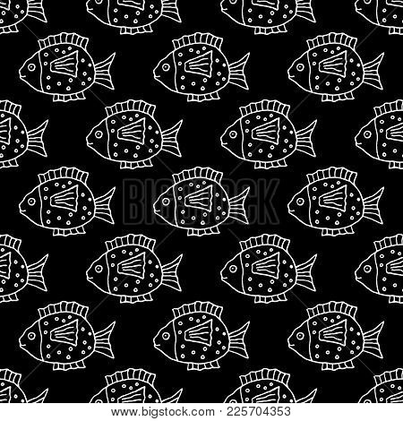 Sweet Cartoon Fish Pattern With Hand Drawn Funny Fish. Cute Vector Black And White Fish Pattern. Sea