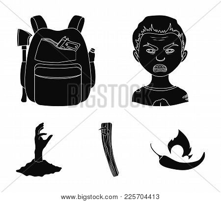 Zombies, Man, Mouth, And Other  Icon In Black Style.clothes, Holes, Rotten, Icons In Set Collection.