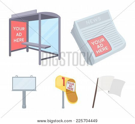 Newspapers, A Bus Stop, A Mail Box, A Billboard.advertising, Set Collection Icons In Cartoon Style V