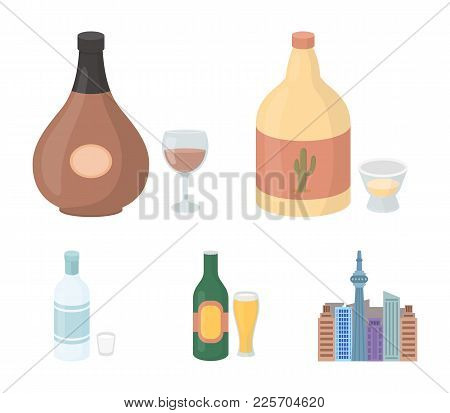 Tequila, Cognac, Beer, Vodka.alcohol Set Collection Icons In Cartoon Style Vector Symbol Stock Illus