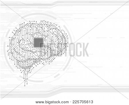 Technological Background With The Human Brain. Electronic Circuit. Stock Vector Illustration.