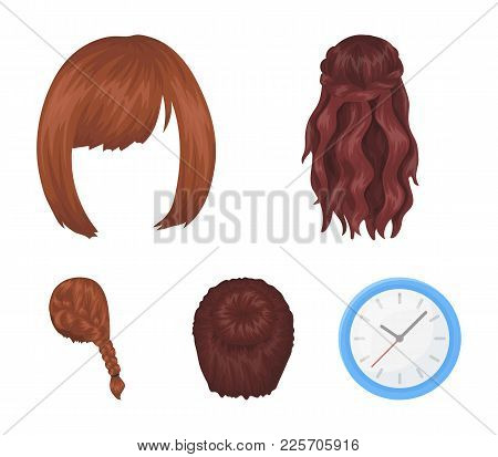 Kara, Red Braid And Other Types Of Hairstyles. Back Hairstyle Set Collection Icons In Cartoon Style