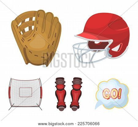 Helmet Protective, Knee Pads And Other Accessories. Baseball Set Collection Icons In Cartoon Style V