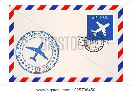 Envelope With Milan Stamp. International Mail Postage With Postmark And Stamps. Vector Illustration