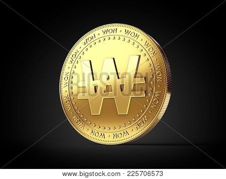 Korean Won Sign On Golden Coin Isolated On Black Background. Realistic 3d Rendering