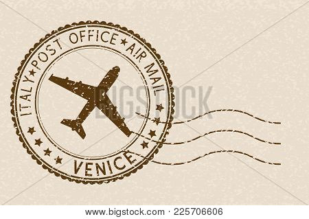 Brown Postmark From Venice, Italy. Grunge Postal Element With Waves. On Beige Background. Vector Ill