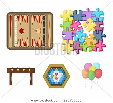 Board Game Cartoon Icons In Set Collection For Design. Game And Entertainment Vector Symbol Stock  I