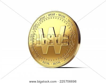 Korean Won Sign On Golden Coin. Photo Realistic 3d Rendering Isolated On White Background