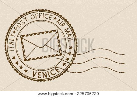 Postal Stamp With Venice Title. Round Brown Postmark On Beige Background. Vector Illustration