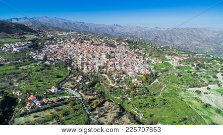 Aerial Bird Eye View Of Famous Landmark Tourist Destination Valley Pano Lefkara Village, Larnaca, Cy