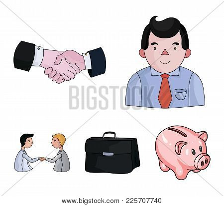 Businessman, Handshake, Portfolio, Agreement.business-conference And Negotiations Set Collection Ico