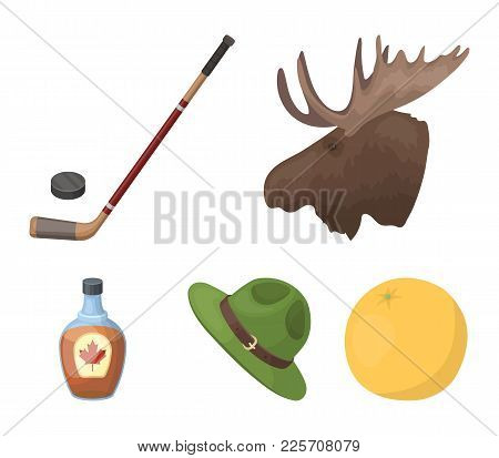 A Canadian Policeman's Hat, A Bottle Of Maple Syrup And Other Canadian Symbols.canada Set Collection