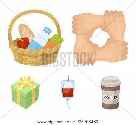 Gesture Of The Hands In Support, A Basket With Food For Charity, Donor Blood, A Gift Donation Box. C
