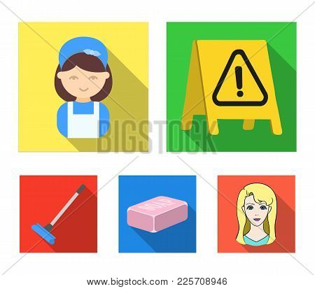 Cleaning And Maid Flat Icons In Set Collection For Design. Equipment For Cleaning Vector Symbol Stoc