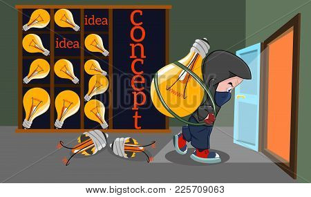 The Concept Of Intellectual Property Theft, Vector Illustration