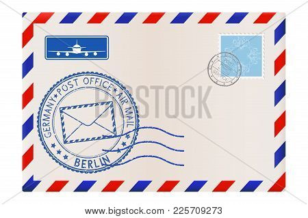 Envelope With Berlin Stamp. International Mail Postage With Postmark And Stamps. Vector Illustration