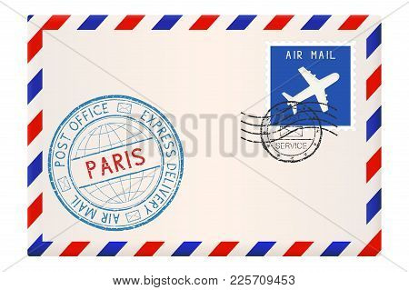 Envelope With Paris Stamp. International Mail Postage With Postmark And Stamps. Vector Illustration