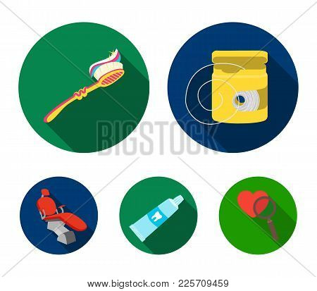 Dental Floss, Toothbrush, Toothpaste, Dental Chair. Dental Care Set Collection Icons In Flat Style V