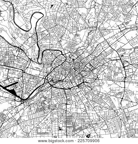 Manchester Downtown Vector Map Monochrome Artprint, Outline Version For Infographic Background, Blac