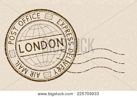Postal Stamp, Round Brown Postmark With London Title. Vector Illustration
