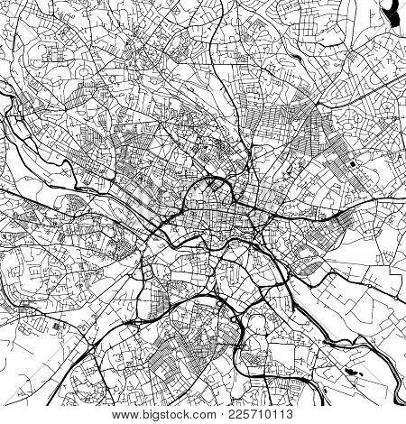 Leeds Downtown Vector Map Monochrome Artprint, Outline Version For Infographic Background, Black Str
