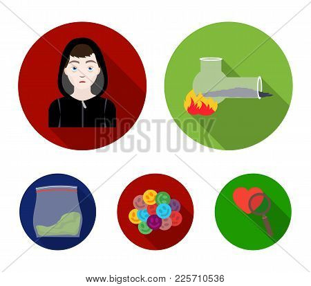 Vong, Drug Addict, Package With Marijuana, Ecstasy. Drugs Set Collection Icons In Flat Style Vector